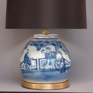 Pair Hand painted Ginger/ Spice Jar vase lamps