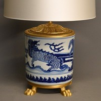 Pair of  exceptional Chinese blue and white lamps