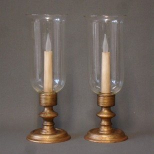 Pair of vintage wired hurricane lamps.