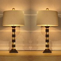 Pair of gilt wood/ black Doric column table lamps