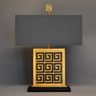 Pair vintage GREEK KEY table lamps.