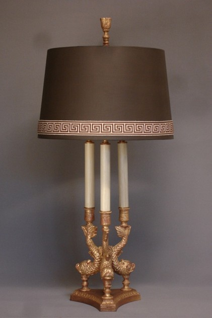Bespoke gilded bronze Dolphin table lamp.-empel-collections-Tripod Dolphin table lamp-004_main_636110940938444821.JPG