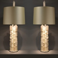 Pair of Mid century style XL rock crystal lamps