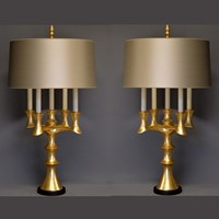 PAIR Brutalist bouillotte lamps (2 pair available)