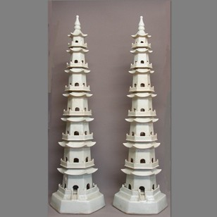 PAIR  120cm tall,  soft celadon 7 tier Pagodas