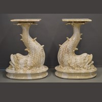 Pair of 77cm H mythological Dolphin supports