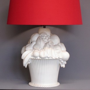 Single white CHAUMETTE basket of fruit table lamp.