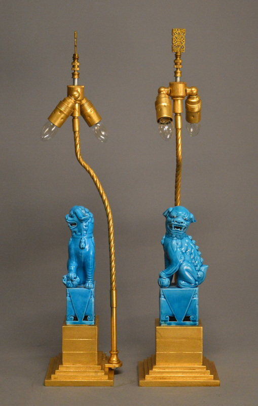 Zoom; Pair Of Turquoise FOO DOG Lamps Empel Collections Foo Dog Lamps  001_main_636469644849133234