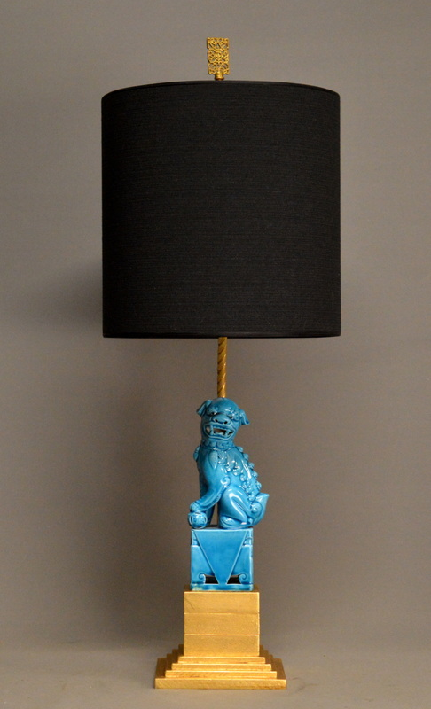 Zoom; Pair Of Turquoise FOO DOG Lamps Empel Collections Foo Dog Lamps  004_main_636469644714967214