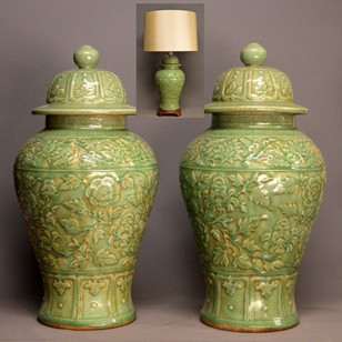 Pair of fresh green temple jars / lamps