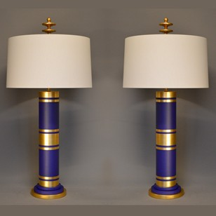 Pair of bespoke modern table lamps purple gold
