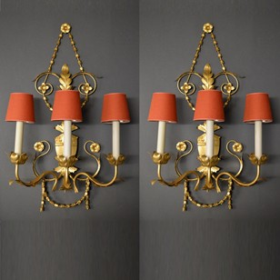 Pair vintage 3 light gilt iron wall lamps