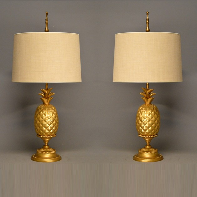 Pair of gold leaf ceramic pineapple lamps-empel-collections-pair golden pineapple table lamps_main_636528396717179286.jpg