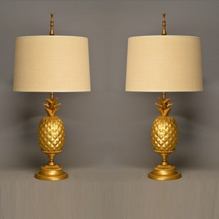 Pair of gold leaf ceramic pineapple lamps