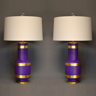 Pair of vintage purple gold leaf vase lamps