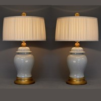 Pair of vintage creme temple jars mounted as lamps