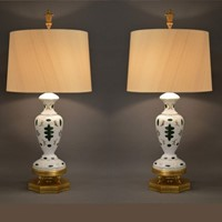 Rare Pair of Bavarian glass ware table lamps, 85cm