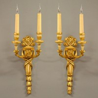 Pair of 19th century gilt wood sconces