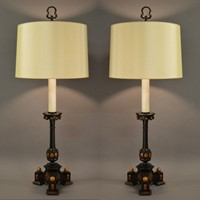 Pair Arts and Crafts candle stick lamps