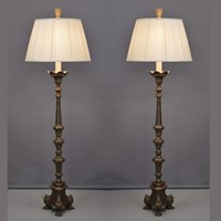 Pair of bronze candle stick floor lamps 138cm