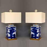Pair of Chinese tea caddies mounted as lamps