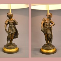 Pair mars and minerva mounted as lamps
