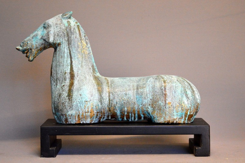 PAIR, decorative gilt iron TANG horse on plinth-empel-collections-pair-verdigris-tang-horses-on-stand-001-main-637135101942189688.JPG
