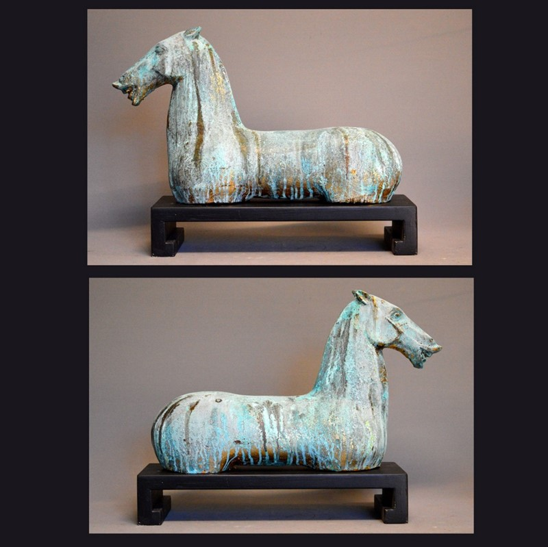 PAIR, decorative gilt iron TANG horse on plinth-empel-collections-pair-verdigris-tang-horses-on-stand-006-main-637135101752191794.JPG
