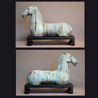 PAIR, decorative gilt iron TANG horse on plinth