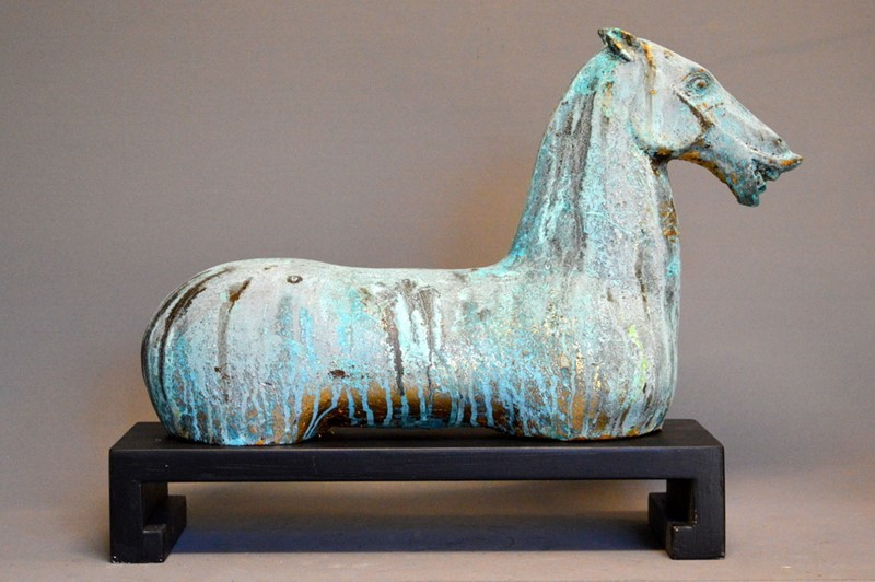 PAIR, decorative gilt iron TANG horse on plinth-empel-collections-pair-verdigris-tang-horses-on-stand-main-637135101937189748.JPG