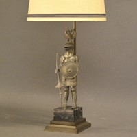 Single pewter knight in full armour as lamp