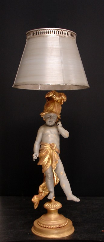 Single PUTTO figure mounted as lamp-empel-collections-putti-with-tole-shade-main-636830783013567606.JPG