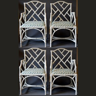 four Rattan Chippendale style arm dining chairs