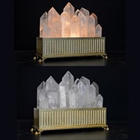 Bespoke Pair of rock crystal lamps.