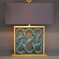 Single vintage ceramic window-tile as lamp