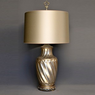 Single vintage  swirl vase mounted as lamp