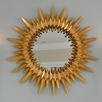 Gilt iron sunburst mirror