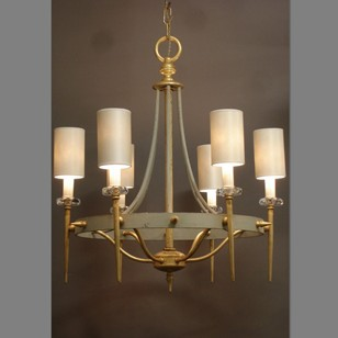 2x vintage chic grey and gilt iron  chandelier