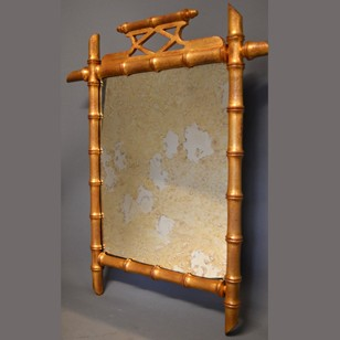 vintage gilt wood faux bamboo mirror
