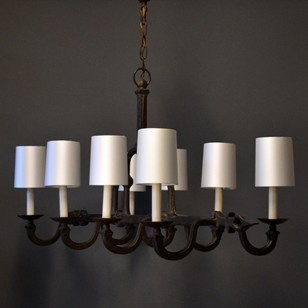 Vintage wrought iron 8 light chandelier