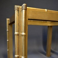 Pair of vintage gilt wood faux bamboo lamp tables