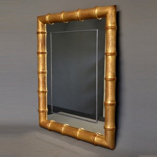 Vintage faux bamboo gilt wood mirror