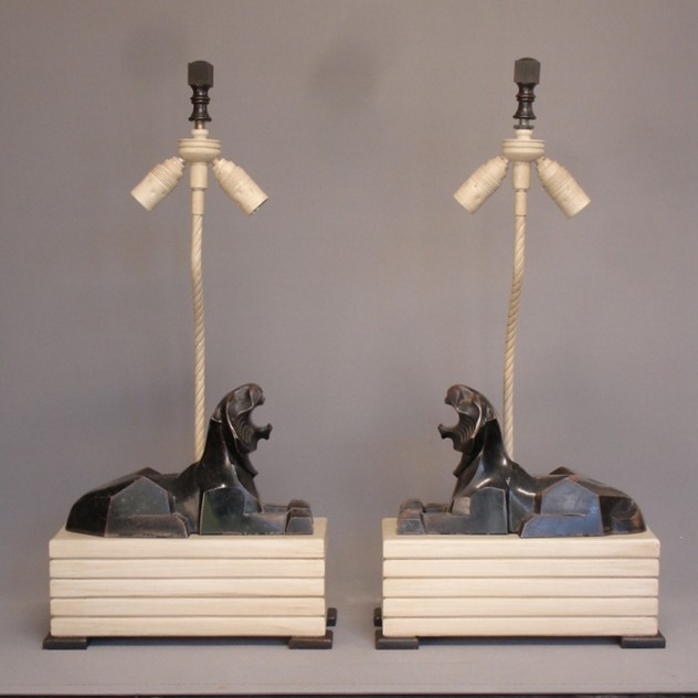 Pair of Art Deco cast iron lions mounted as lamps.-empel-collections-vintage pair of cast iron lions mounted as lamps-001_main_636059204416114838.JPG