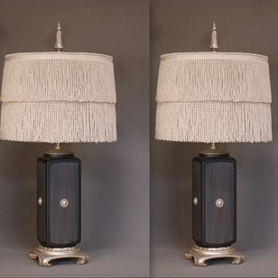 Vintage pair of square ceramic table lamps.