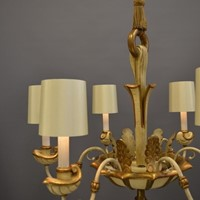 6 light Italian painted and gilt chandelier