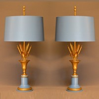 Pair of 60's cat tail in urn table lamps