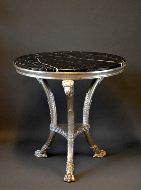 Bespoke Gueridon in silver leaf, black marble-empel-collections-wood carved gueridon with marble top_main_636322706647632534.JPG