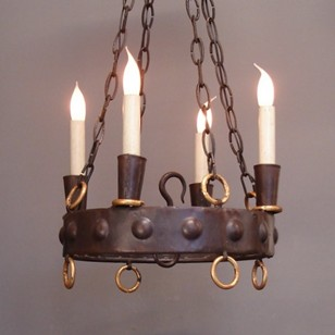 Wrought iron four light chandelier.