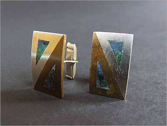 1960s Brass & Silver Hecho Cufflinks-fears-and-kahn-1960s-brass-silver-hecho-cufflinks-632_1.jpg