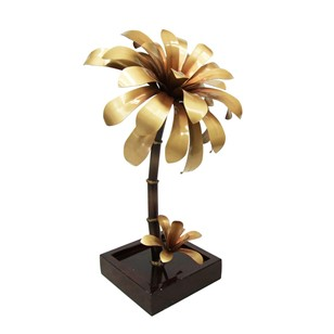 1970's Lille Metal Flower Palm Lamp